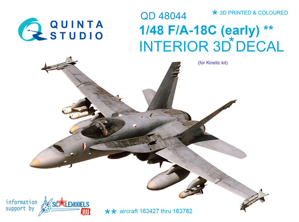 F/A-18C (early) 3D-Printed & coloured Interior on decal paper (for Kinetic)