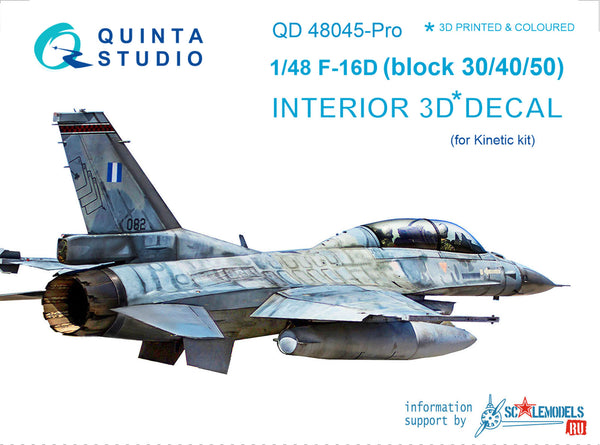 F-16D (block 30/40/50) - 3D-Printed & coloured Interior extended el-ts (for Kinetic kit)