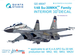 Su-30MKK 3D-Printed & coloured Interior on decal paper (for HobbyBoss kit)
