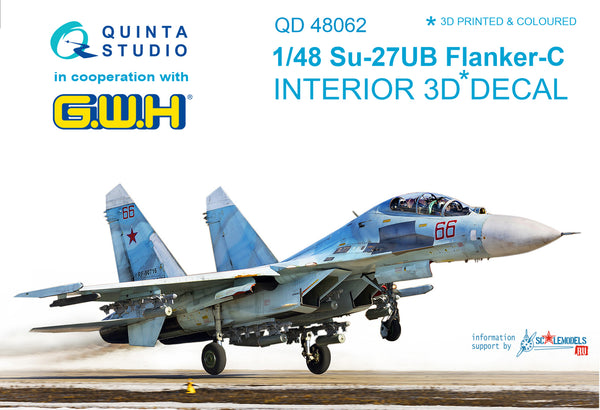 Su-27UB 3D-Printed & coloured Interior on decal paper (for GWH kit)