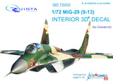MiG-29 9-13 - 3D-Printed & coloured interior (for 7278 Zvezda kit)