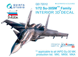 Su-30SM 3D-Printed & coloured Interior on decal paper (for Zvezda kit)