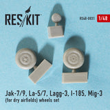 Jak-7/9, La-5/7, Lagg-3, I-185, MiG-3 (for dry airfields) Wheels Set