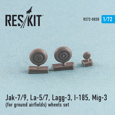 Jak-7/9, La-5/7, Lagg-3, I-185, Mig-3 (for ground airfields) Wheels Set