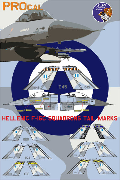 HELLENIC F-16C SQUADRONS TAIL MARKS + ROUNDERS AND NUMBERS