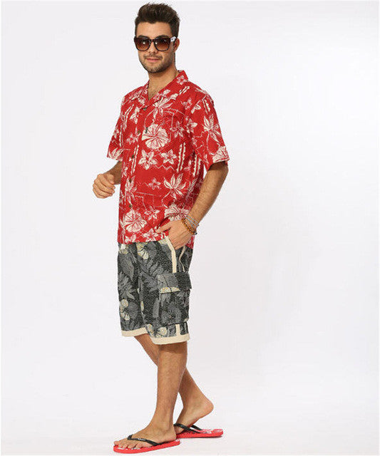 Red Floral Hawaiian Shirt