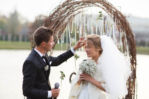 Rustic Curly Willow Wedding Arch with Copper Arch