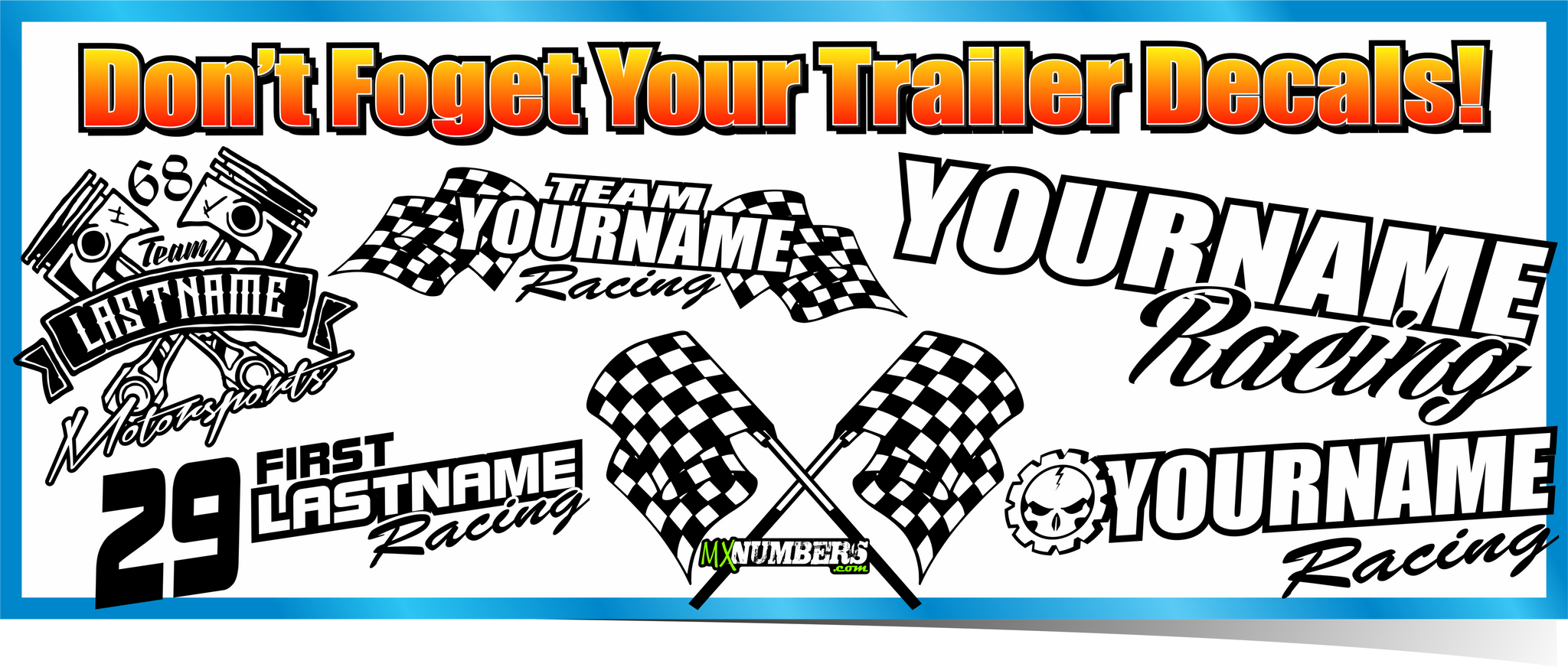 MxNumbers- Dirtbike, ATV & Kart Vinyl Race Number Graphics