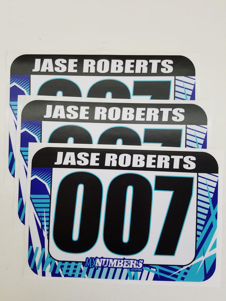 Race Numbers with Name -Road Rash Design