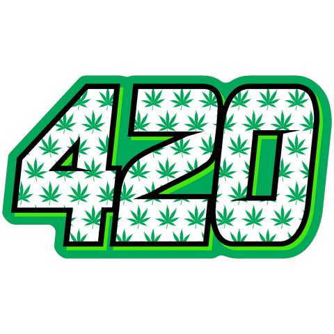 Marijuana Print Race Number Decals