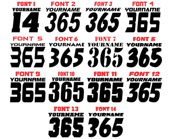 Single Color Race Number Decals With Name