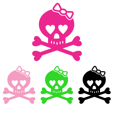 Skull with Bow Decal - MxNumbers