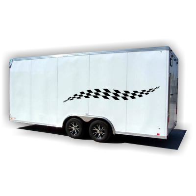Checkered Stripes Trailer Graphics - MxNumbers