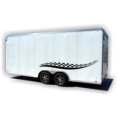 Checkered Stripes Trailer Decals - MxNumbers
