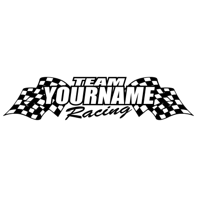 Team Custom Your Name With Race Flag Graphic Single Color