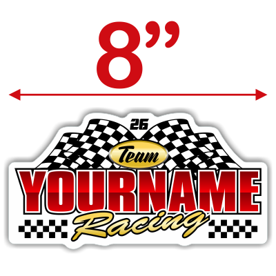 Team Your Name Racing with Number and Checkered Flag Decals - MxNumbers