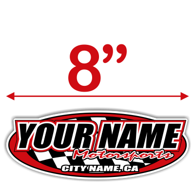 Custom Your Team Name Motorsports Oval Decals - MxNumbers