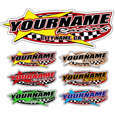 Custom Your Team Name Racing with Star Decals - MxNumbers