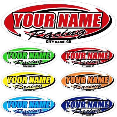 Custom Your Team Name Racing Oval Decals - MxNumbers
