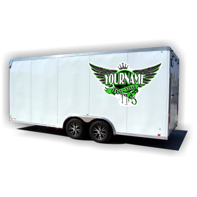 Custom Your Name Racing Trailer Decals with Wings and Crown - MxNumbers
