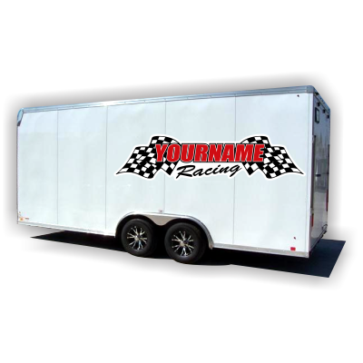 Custom Your Name Racing with Flags Trailer Decals - MxNumbers