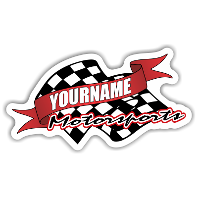 Custom Your Name Motorsports Trailer Decals with Checkered Flag - MxNumbers