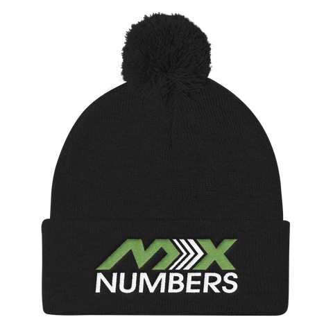 Pom Pom Knit Beanie - Kiwi Green with White Arrow Logo - MxNumbers