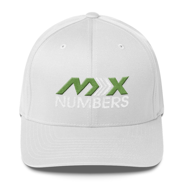 MxNumbers Flexfit Hat with Gray Undervisor- Kiwi Green with White Arrow Logo - MxNumbers