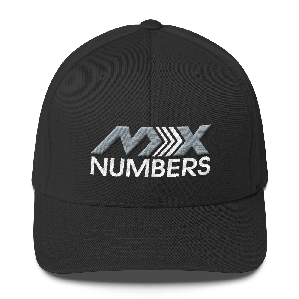 MxNumbers Flexfit Hat with Gray Undervisor- Gray with White Arrow Logo - MxNumbers