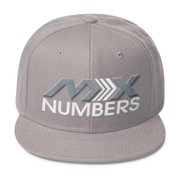 MxNumbers Snapback Hat with Gray Undervisor- Gray with White Arrow Logo - MxNumbers