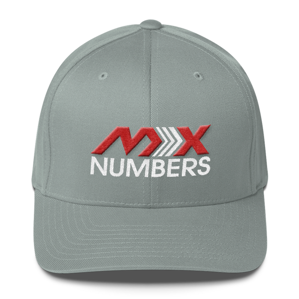 MxNumbers Flexfit Hat with Gray Undervisor- Red with White Arrow Logo - MxNumbers