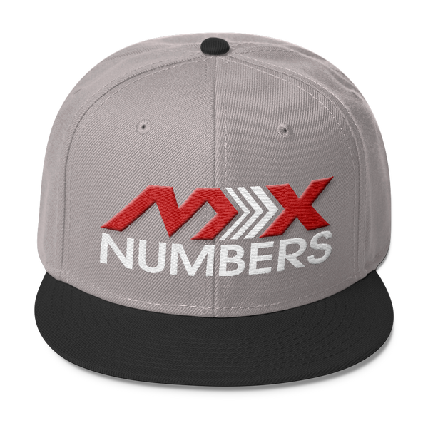 MxNumbers Snapback Hat with Gray Undervisor- Red with White Arrow Logo - MxNumbers
