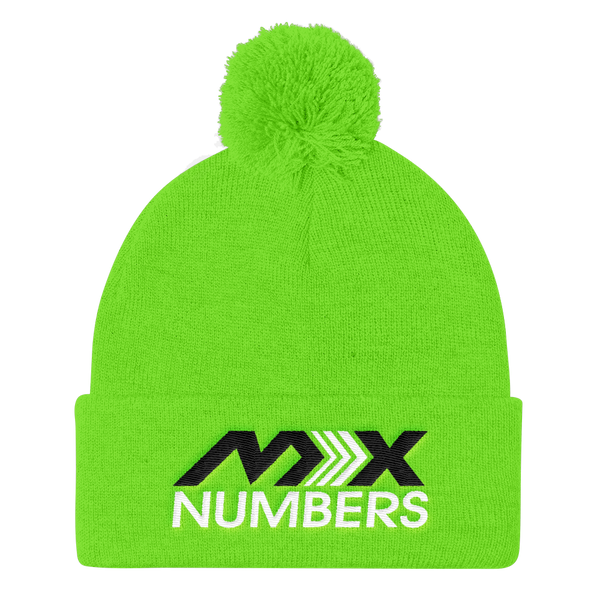 Pom Pom Knit Beanie -Black with White Arrow Logo - MxNumbers
