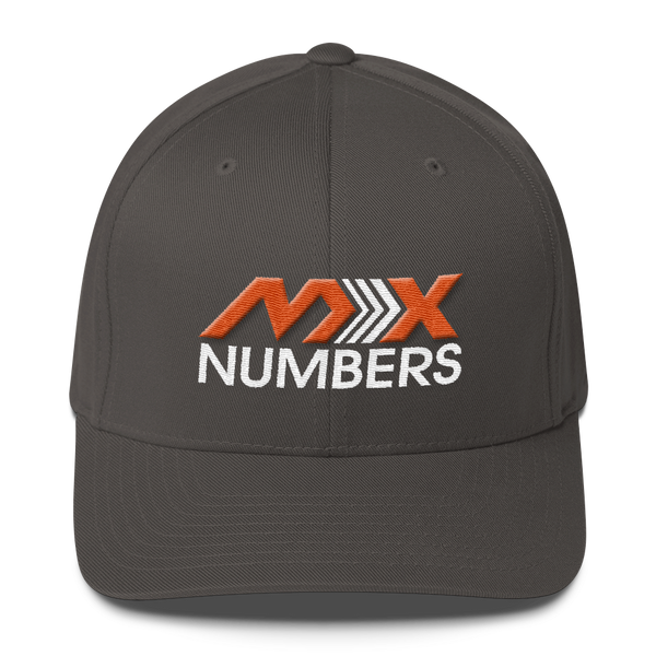 MxNumbers Flexfit Hat with Gray Undervisor- Orange with White Arrow Logo - MxNumbers