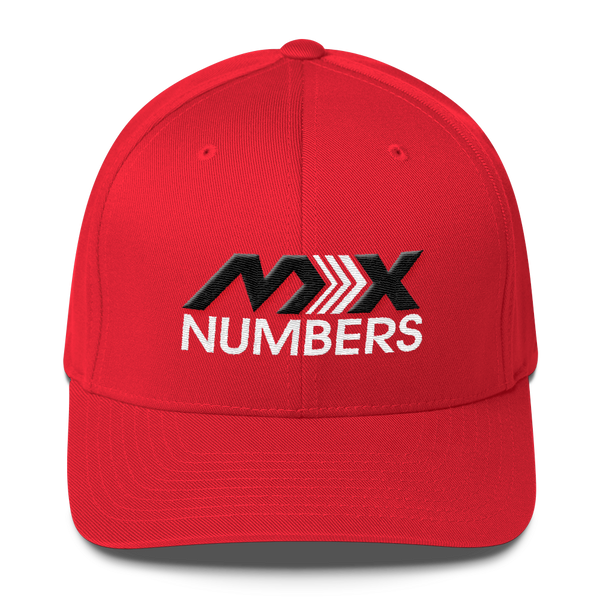MxNumbers Flexfit Hat with Gray Undervisor- Black with White Arrow Logo - MxNumbers