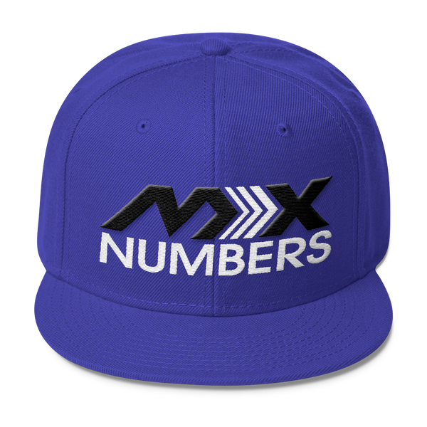 MxNumbers Snapback Hat with Gray Undervisor- Black with White Arrow Logo - MxNumbers
