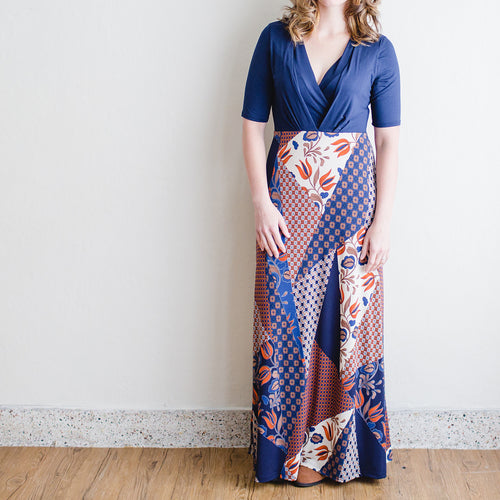 PatchWork Nursing Maxi in Navy