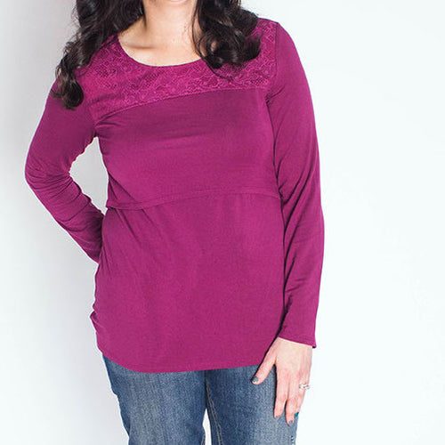 Beautiful in Berry & Lace Nursing Top