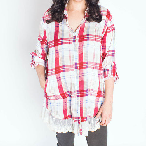 Plaid & Lace Button Down Tunic