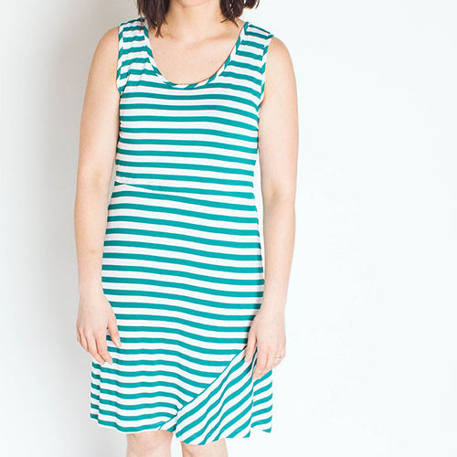 Seein' Stripes Nursing Dress in Teal