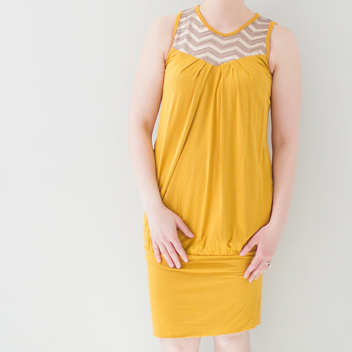 Sequin & Be Seen Maternity & Nursing Dress in Mustard