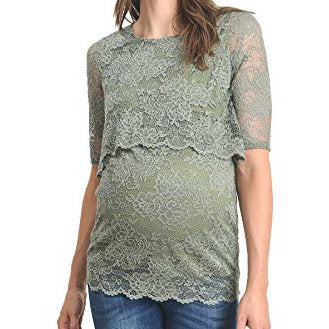 Lace Breastfeeding Top - Olive