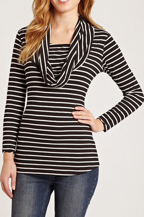 Black and White Cowl Neck Nursing Top