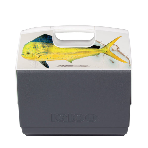 Igloo X Amadeo Bachar Limited Edition 16qt Cooler. The base is gray and at the top there is a large yellow fish.