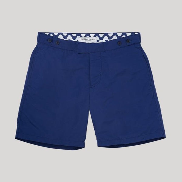 Frescobol tailored trunks. Tailored Waistband  Tailored Cut  Quick Dry Polyester.  100% Cotton Mesh Lining