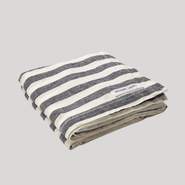 gray and white Frescobol Medium Stripe Linen Towel