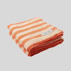 Orange and light orange Frescobol Medium Stripe Linen Towel