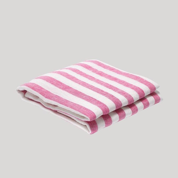 pink and white Frescobol Medium Stripe Linen Towel
