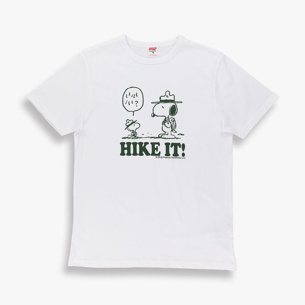 TSPTR Hike It. White shirt with Snoopy and woodstock standing facing each other. underneath it says Hike It!