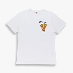 TSPTR Snoopy Pizza T-Shirt. Orange, gray and white shirts with a design of snoopy laying on top of a slice of pizza  Edit alt text